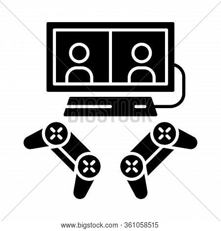 Video Games Glyph Icon. Esports. Competition For Two Gamers. Gaming Devices. Split Screen, Multiplay