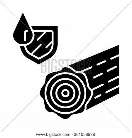 Waterproof Wood Glyph Icon. Durable Water Resistant Log. Weatherproof Building, Construction Materia