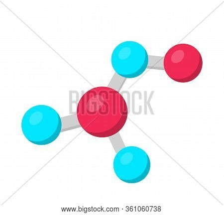 Molecule Structure Model Flat Vector Illustration. Chemistry, Microbiology, Biochemistry, Modern Sci