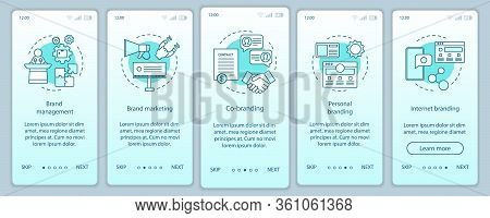 Branding Types Onboarding Mobile App Page Screen Vector Template. Personal, Internet Branding, Co-br