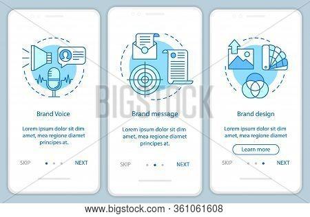 Branding Elements Onboarding Mobile App Page Screen Vector Template. Brand Voice. Walkthrough Websit