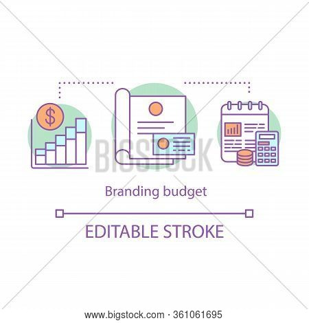 Branding Budget Concept Icon. Advertising Expenses. Brand Management Idea Thin Line Illustration. St