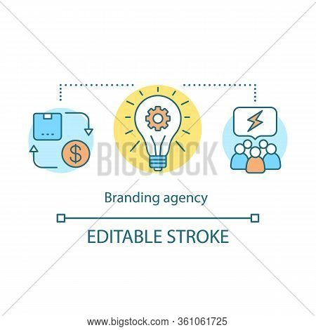 Branding Agency Concept Icon. Brand Management Idea Thin Line Illustration. Work Team Cooperation. S