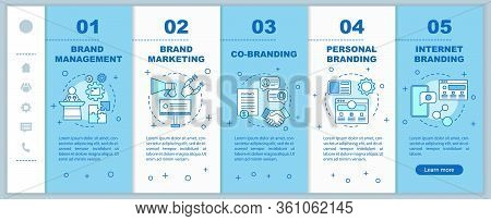 Branding Types Onboarding Mobile Web Pages Vector Template. Brand Marketing. Responsive Smartphone W