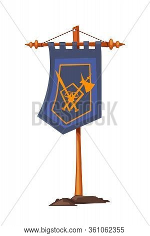 Cartoon Medieval Knight Items. Flat Flag With Family Coat Of Arms Hanging On Wooden Stick Isolated O