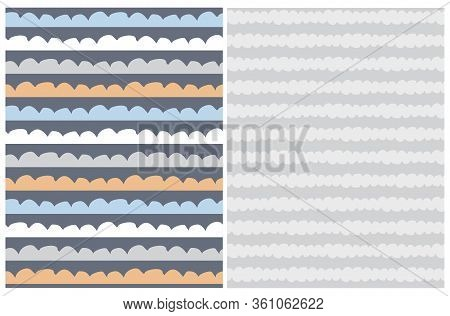 Cute Abstract Geometric Vector Patterns. Freehand Waves On A Graphite Background. Irregular Infantil