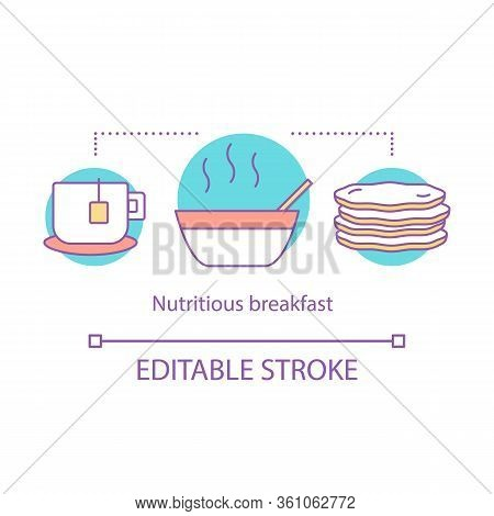 Nutritious Breakfast Concept Icon. Brunch. Cup Of Tea, Hot Meal, Pancakes. Nourishing Food. Lunch Id