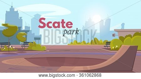 Cartoon Skate Park With Rollerdrom Over City Landscape Advertising Poster. Skate Ramp For Active Out