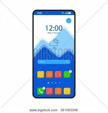 Home Screen Smartphone Interface Vector Template. Mobile Operating System Page Blue Design Layout. S