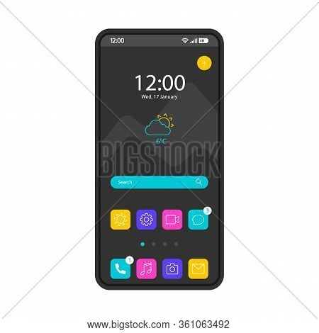 Home Screen Smartphone Interface Vector Template. Mobile Operating System Page Black Design Layout.