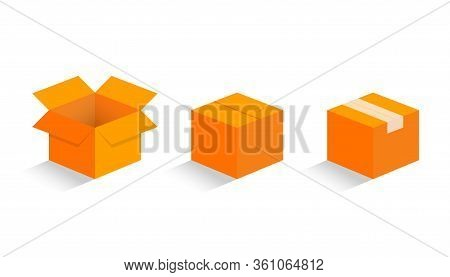 Cardboard Boxes Mockup Isometric Style Design Vector Illustration Icon Sign Set With Shadow Isolated