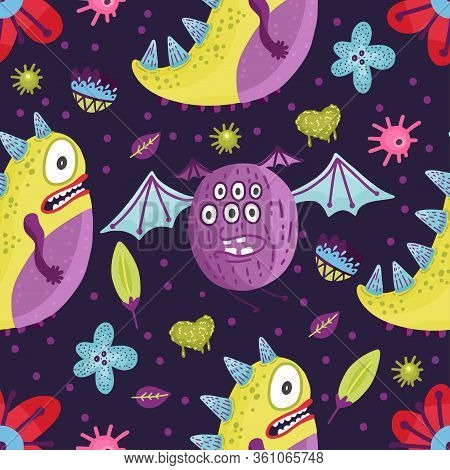 Cute Cartoon Flying Monster Vector Seamless Pattern In A Flat Style. Funny Kid Alien Character Backg