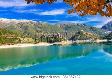 Beautiful lakes of Italy - Turano and medieval village Castel di Tora, Rieti province
