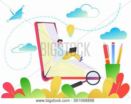 Education Concept Of Online Tutorial Training Courses, Web Education Or Video Courses Flat Style Des