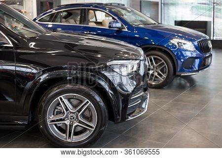 Russia, Izhevsk - February 20, 2020: Mercedes-benz Showroom. New Modern Cars In The Dealer Showroom.