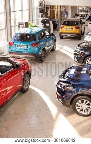 Russia, Izhevsk - March 05, 2020: Suzuki Showroom. New Modern Cars In The Dealer Showroom. Famous Wo