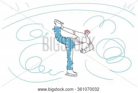 Figure Skater. Male Characters Doing Spin Isolated On White Background. Athlete On The Rink. Vector