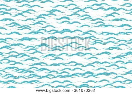 Seamless Pattern Of Hand-drawn Waves. Ocean Water Splashes Flowing. Blue Grunge Texture On White Bac