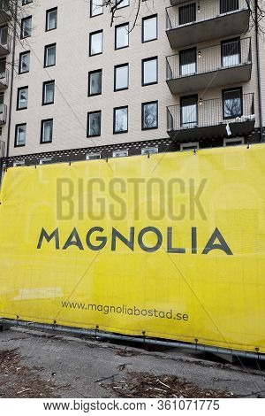Sodertalje, Sweden - April 5, 2020: The Property Owner Magnolia Banner On A Fence At The Appartment