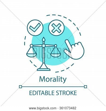 Morality Concept Icon. Justice Idea Thin Line Illustration. Moral Choice. Problem Solving. Law Balan