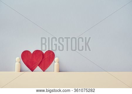 Couple In Love Mockup, Copy Space. Just Married. Sweethearts And Amour. Valentines Day. Red Hearts A