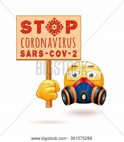 Emoji In A Respirator And Chemical Protection Glasses. Emoticon In A Respirator And With Propaganda
