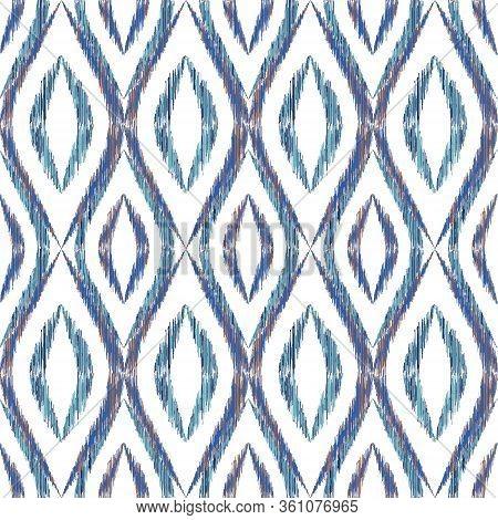 Ikat Ogee Seamless Vector Pattern Design. Ethnic Fabric Print Geometric Ikat Pattern. Cute Ogee Seam