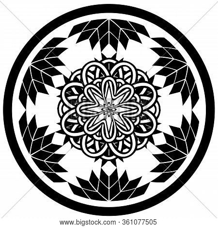 Tattoo Or Print Design With Abstract Circle With Geometric Flowers And Entwined Tracery In Tribal Ce