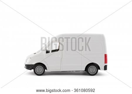 Transport white van car on white background with clipping path