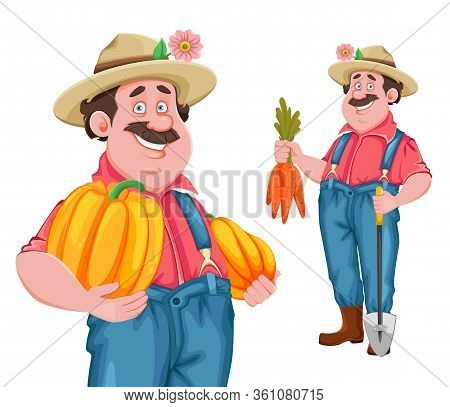 Farmer Cartoon Character. Cheerful Farmer, Set Of Two Poses. Stock Vector Isolated On White