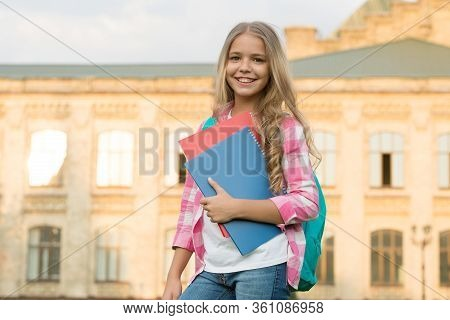 School Club. Modern Education. Private Schooling. Teen With Backpack. Stylish Smiling Schoolgirl. Gi