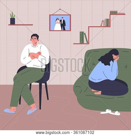 Conflict Between Woman And Man.quarrel Of Young Male And Female.relationship Crisis.couple Offended
