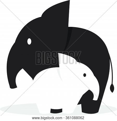 Simple Black And White Illustration Of Mommy Elephant And Her Baby