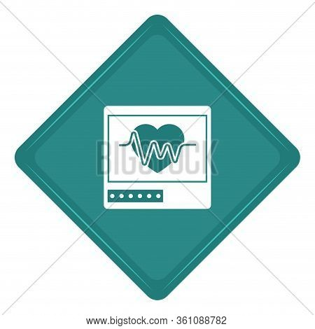 Sticker Of An Electrocardiogram In A Screen Icon - Vector Illustration