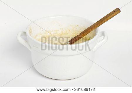Homemade Bread Preparation. Dough In A Pot