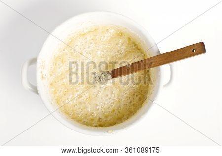 Food Preparation. Dough In A Pot Preparation