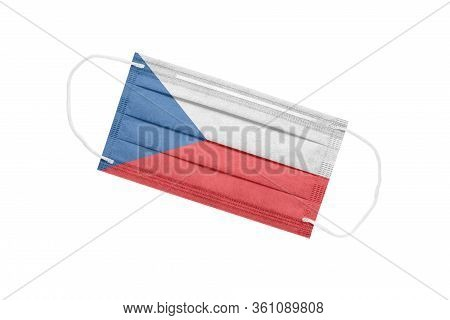 Medical Face Mask With Czech Flag Isolated On A White Background. Czech Pandemic Concept. Attribute