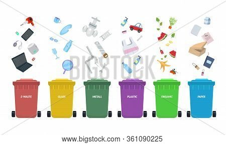 Waste Bins. Rubbish Bins For Recycling Different Types Of Waste. Sort Plastic, Organic, E-waste, Met