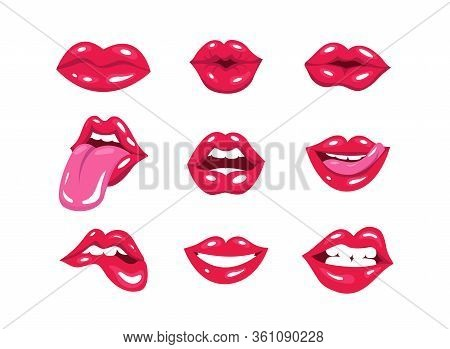 Set Of Sexy Red Pop Art Lips. Vector Illustration Of Womans Lips Expressing Different Emotions, Kiss
