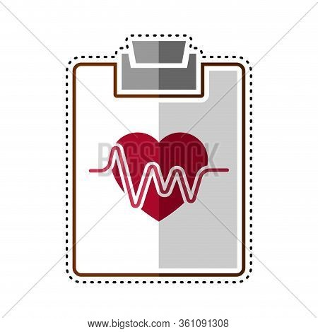 Dotted Line Electrocardiogram In A Clinical History Icon - Vector Illustration