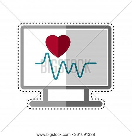 Dotted Line Electrocardiogram In A Screen Icon - Vector Illustration