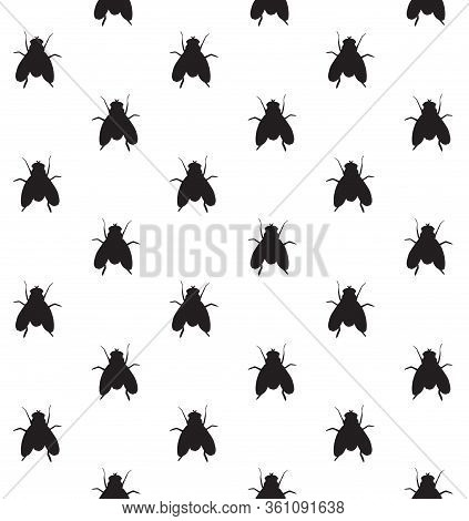 Vector Seamless Pattern Of Black Sketch Fly Insect Silhouette Isolated On White Background
