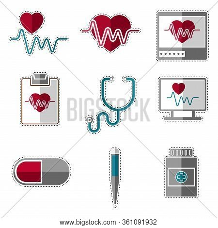 Set Of Medical Icons. Dotted Line Electrocardiogram, Thermometer And Pills - Vector