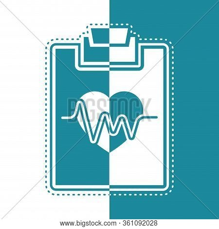 Bicolor Icon Of An Electrocardiogram In A Clinical History - Vector Illustration