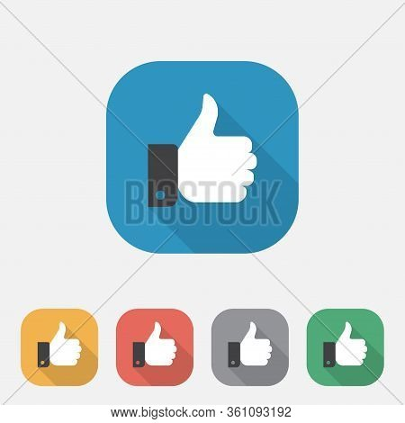Thumb Up Icon, Colorful Hand Thumb Up Flat Icon Button, Like Symbol, Square Thumb Up Symbol Icons In