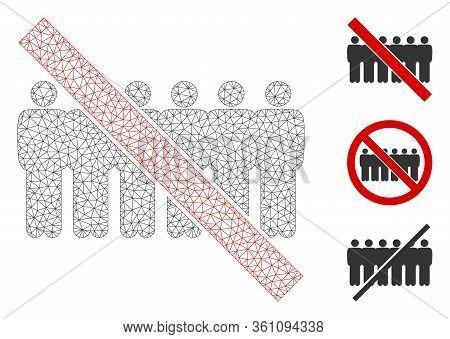 Mesh Forbidden People Line Polygonal Symbol Vector Illustration. Carcass Model Is Based On Forbidden