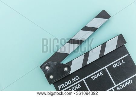 Filmmaker Profession. Classic Director Empty Film Making Clapperboard Or Movie Slate Isolated On Blu