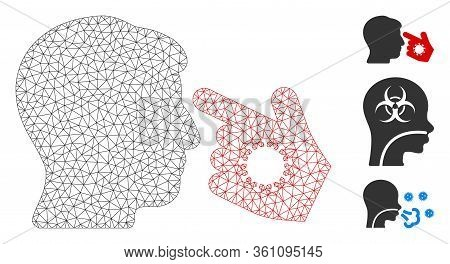 Mesh Hand Infection Polygonal 2d Vector Illustration. Carcass Model Is Based On Hand Infection Flat