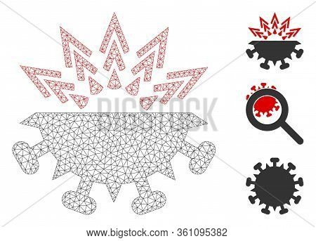 Mesh Coronavirus Structure Polygonal Icon Vector Illustration. Model Is Based On Coronavirus Structu