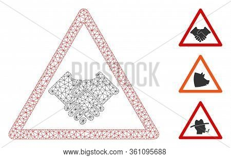 Mesh Handshake Warning Polygonal Icon Vector Illustration. Carcass Model Is Based On Handshake Warni